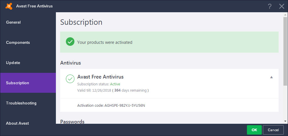 Avast contents password activation code free trial