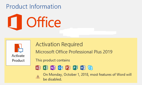 Microsoft Office 2019 trial version for Windows
