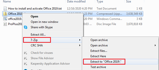 use 7 zip to extract Office 2019