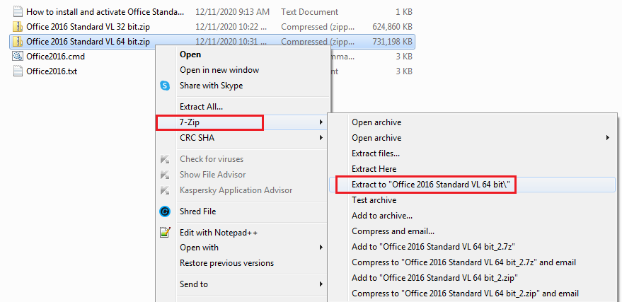 Use 7-zip to extract Office 2016 standard