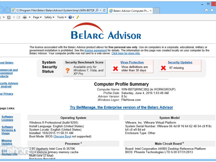 Belarc Advisor Download Free Trial 2019
