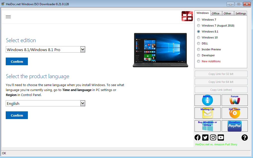 Use tool to download Windows 8.1 ISO