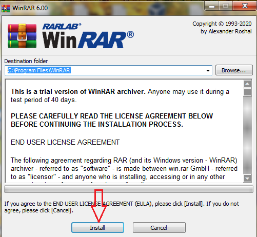 how to install Winrar