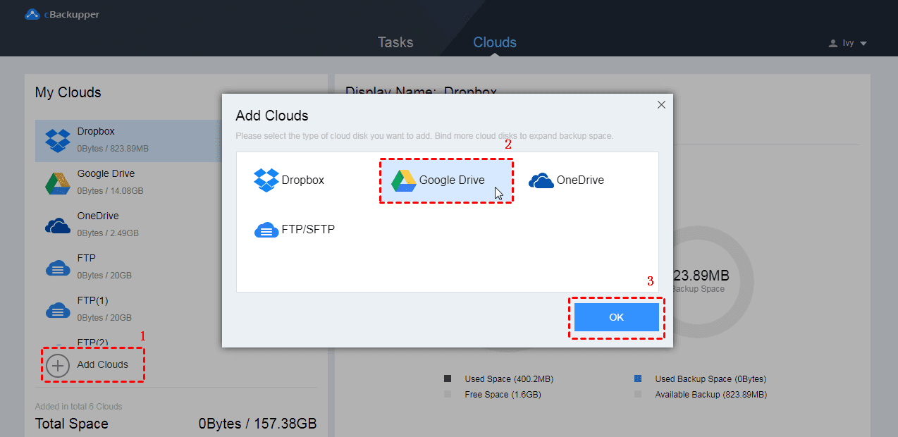 How to Backup Files from Dropbox to Google Drive Directly 2