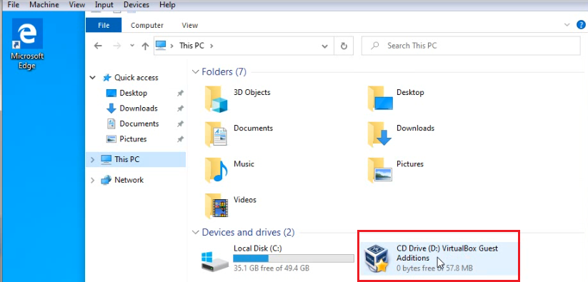 CD Drive D VirtualBox Guest Additions