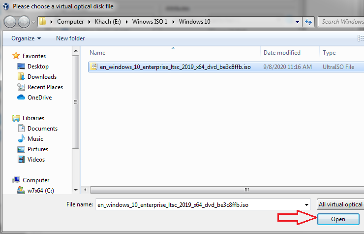Open Windows 7-8-10 ISO file