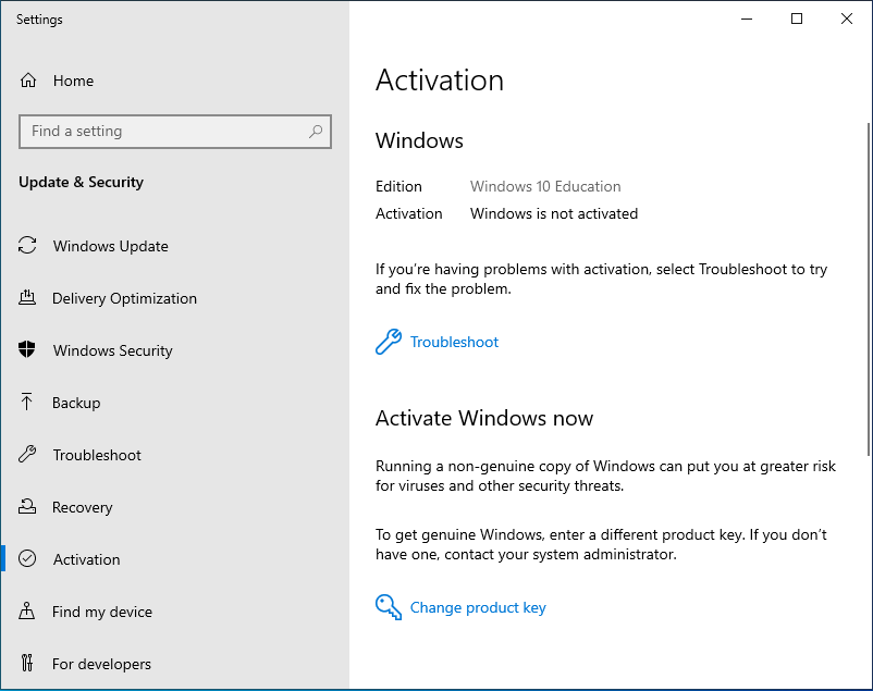 Upgrade Windows 10 Pro to Education