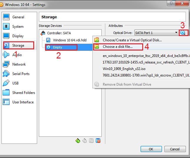 VirtualBox Setting Windows