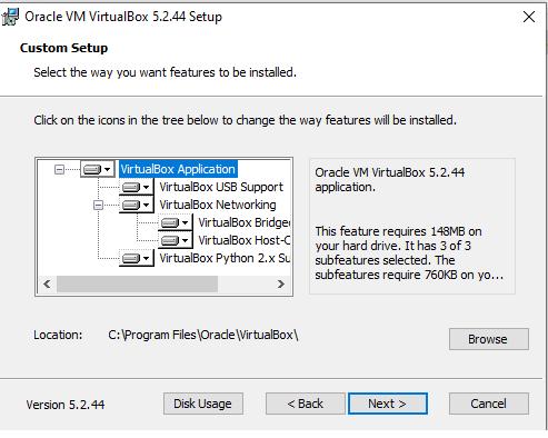 Virtualbox custom setup
