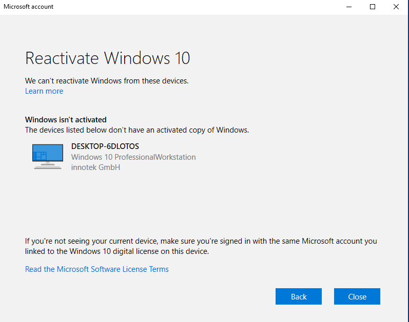 We can't reactivate Windows from these devices