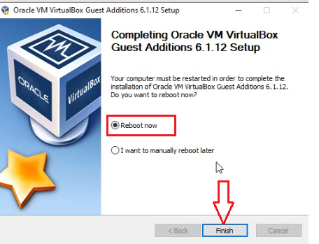 reboot to finish install Oracle VM VirtualBox Guest Additions