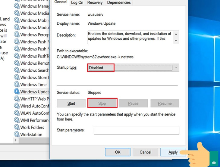 use Windows Services to disable Windows 10 update permanently