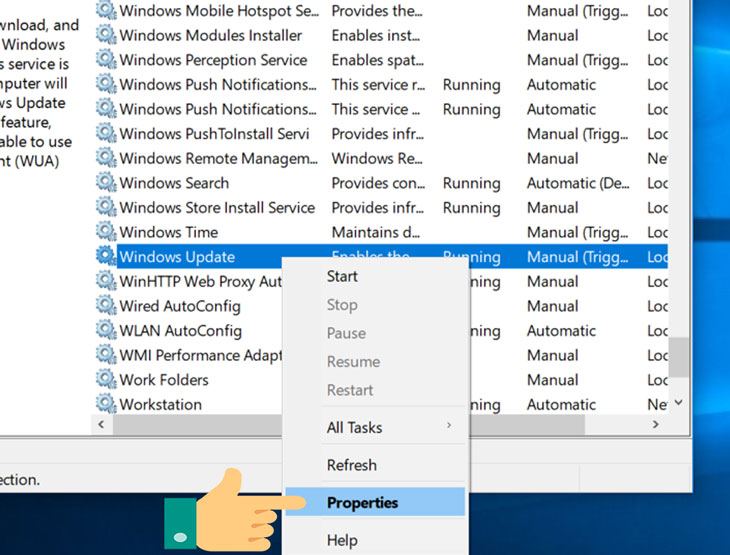 use Windows Services to disable Windows 10 update