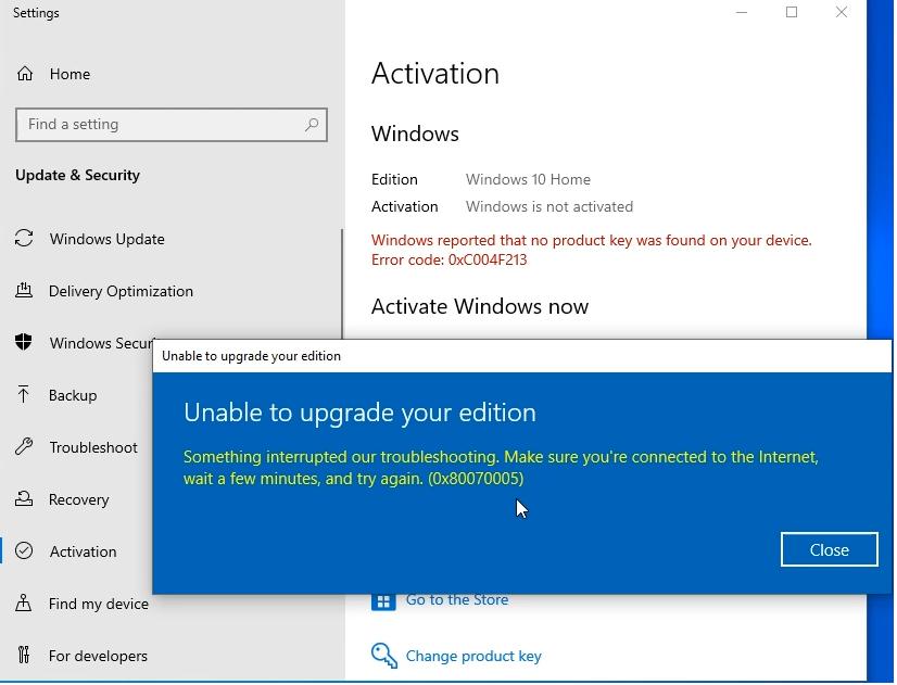 Windows 10 Pro upgrade failed