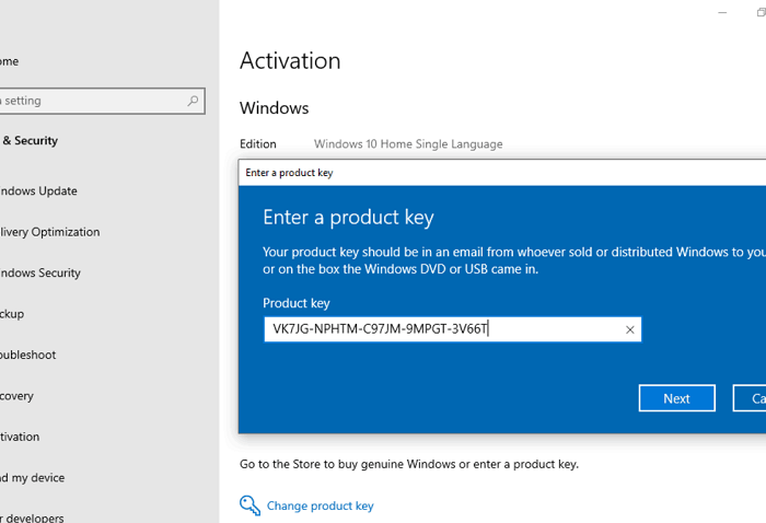 Windows 10 Pro upgrade key