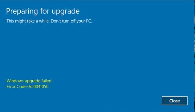Windows 10 upgrade failed