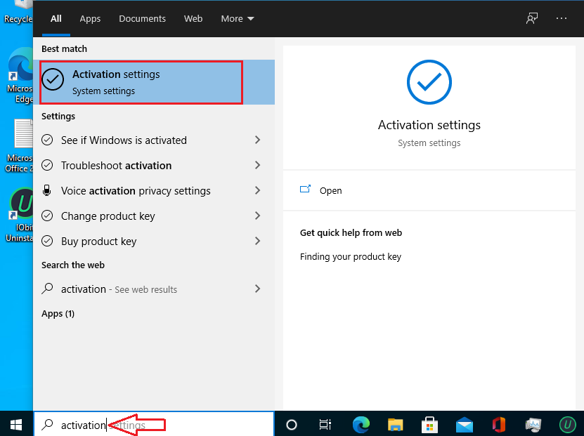 activation setting Windows 10