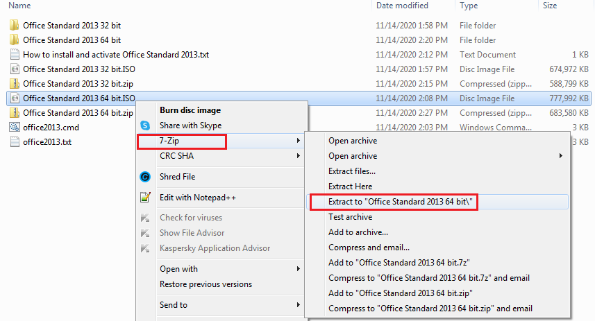 use 7-zip to extract Office 2013