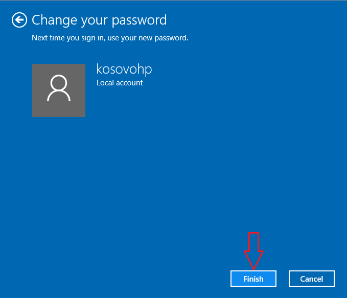 Finish change password Windows 10