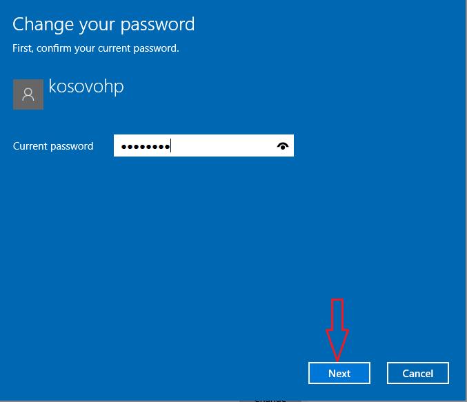 current password Windows 10