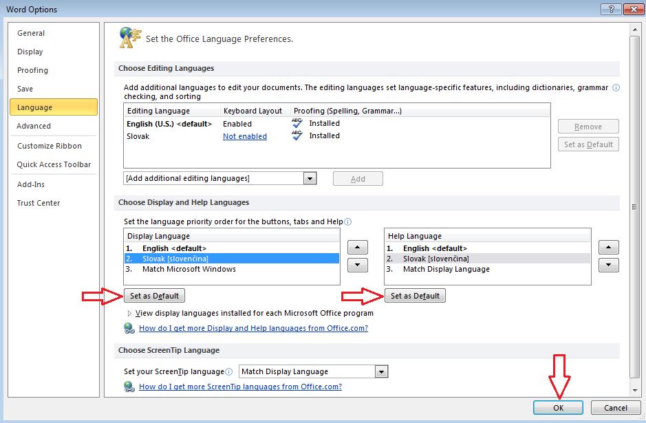 How to change Microsoft Office 2010 language