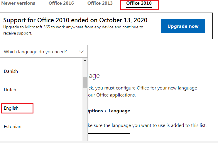 download languages for Microsoft Office 2010
