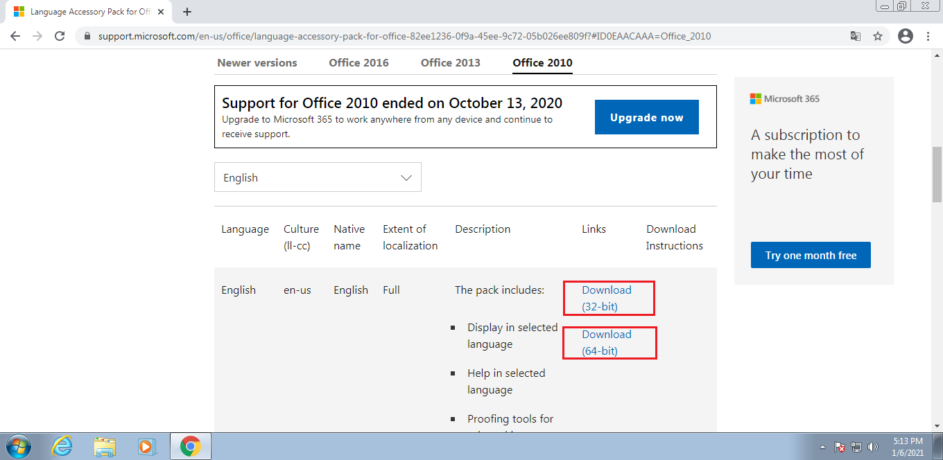 download languages from Office 2