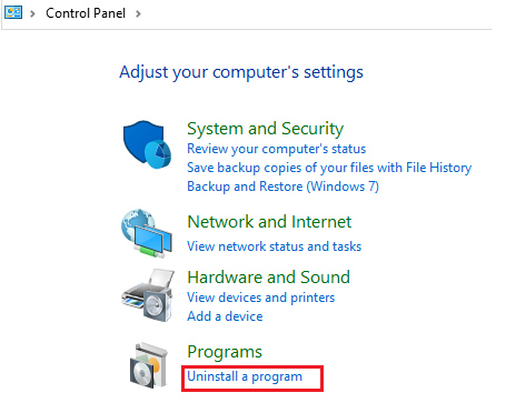 uninstall a prgram Windows 10