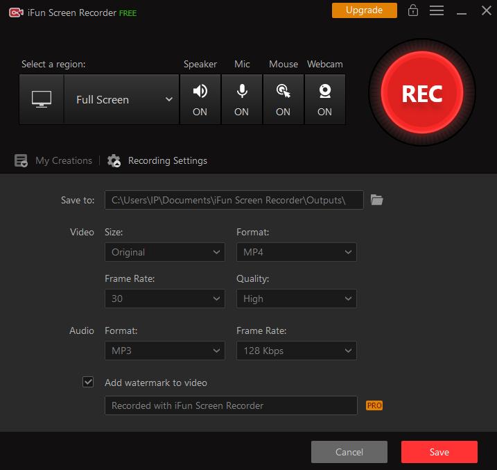Quick recording settings