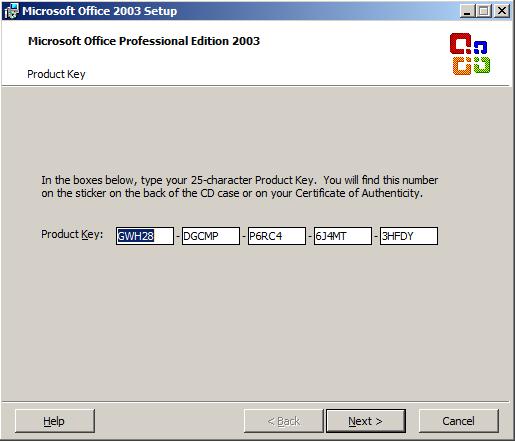 Free Microsoft Office 2003 Product Key