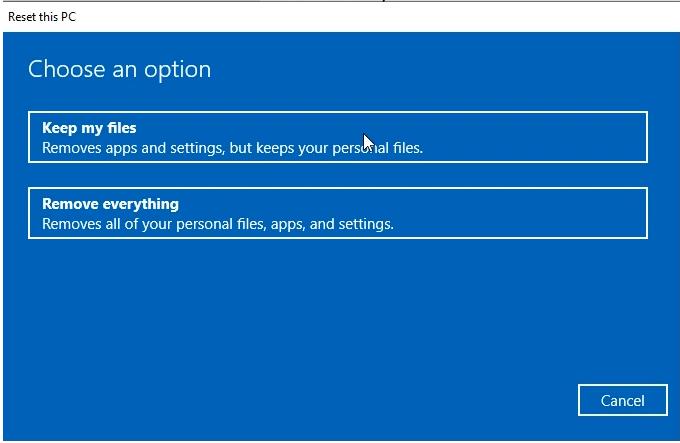 Reset Windows 10 keep files