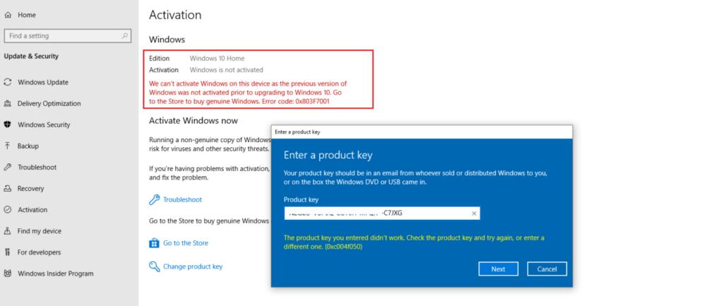 How to fix error 0xc004f050 Windows 10