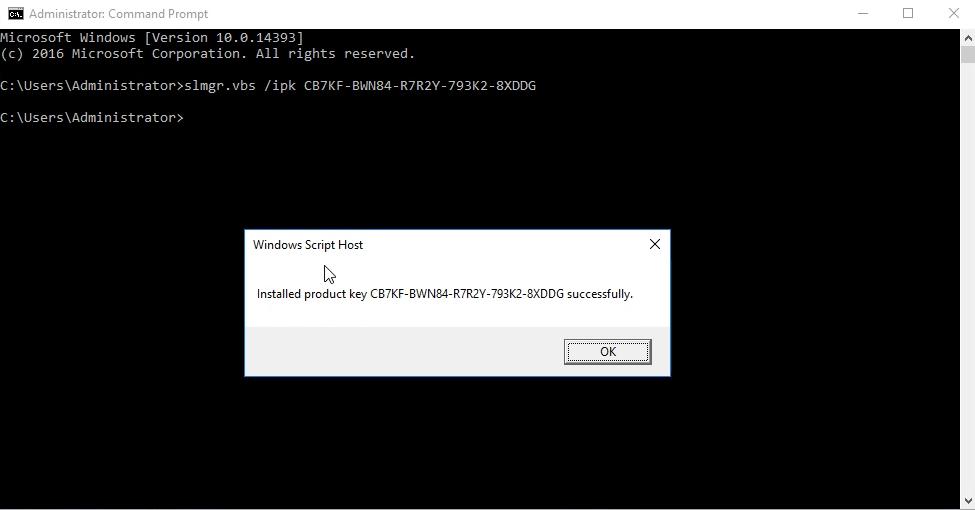 Install Windows Server 2016 KMS Key