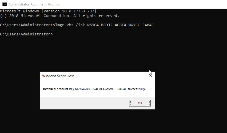 Install Windows Server 2019 KMS Key