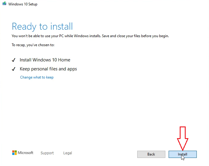 Reinstall Windows 10 keep personal files and apps