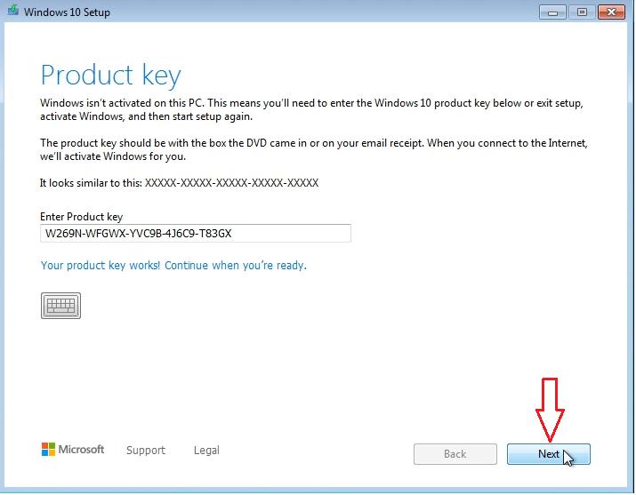 Windows 10 installation key