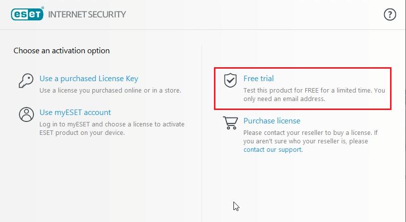 Eset Internet Security free trial key