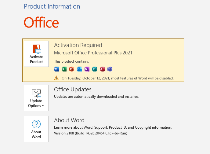 MS Office 2021 trial version